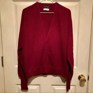 Vintage Cardigan dark red v neck XL - wine